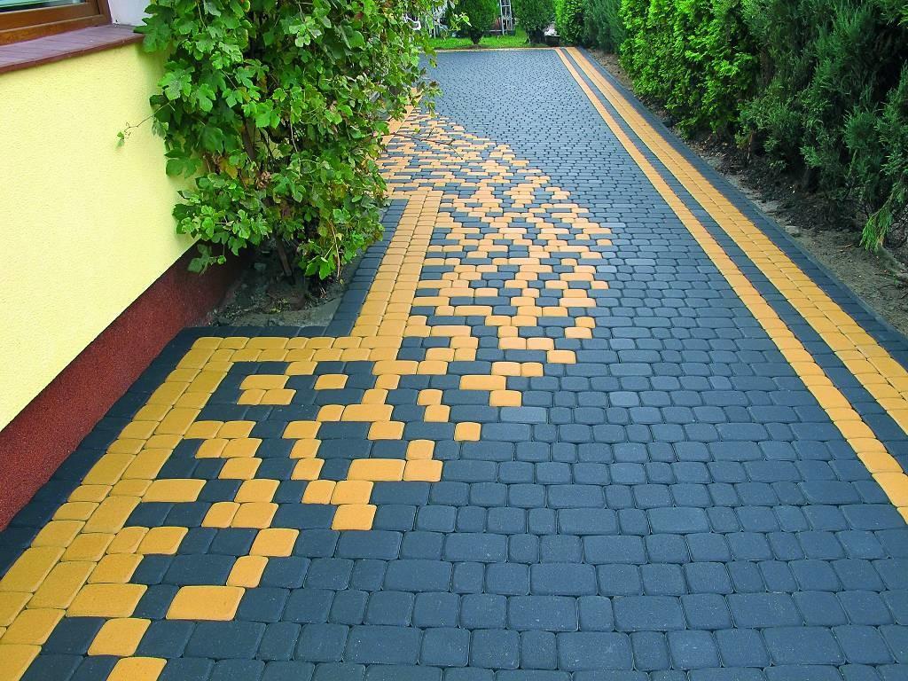Схема укладки желтой и серой плиткой