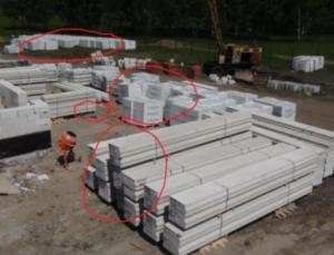 Ошибки при хранении газосиликатных блоков.
